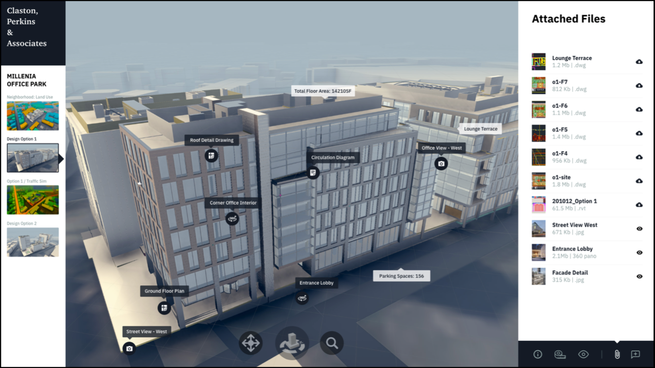 A digital 3D model of a building with callouts labeling components including parking spaces, the ground floor plan, and a circulation diagram.