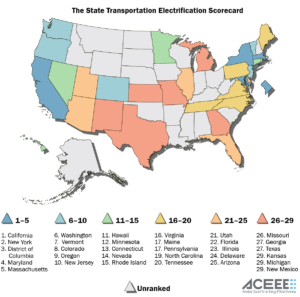 A map illustrates states' standings in the American Council for an Energy-Efficient Economy's new State Transportation Electrification Scorecard.