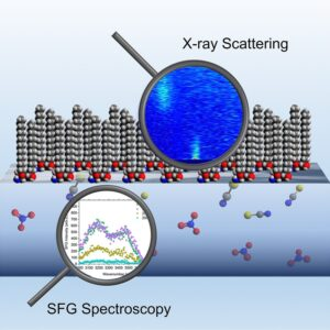 A graphic representation of X-ray scattering and sum frequency generation spectroscopy.