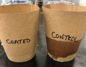 """Two brown paper cups, the right labeled """"control"""" with visible liquid leakage, and """"coated"""" on the left with none."""