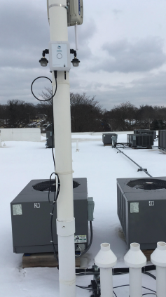 Rapids Air Quality monitors are installed on existing infrastructure, such as light poles.