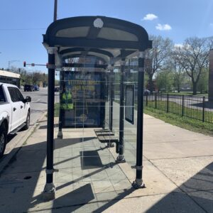 One of the100-plus Chicago bus stops equipped with an air quality sensor.